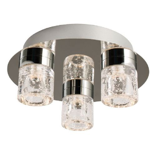 LED Chrome plate & clear glass + bubbles IP44 Bathroom Flush Light BX61359-17  (Double Insulated)